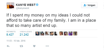 Kanye West can't support family