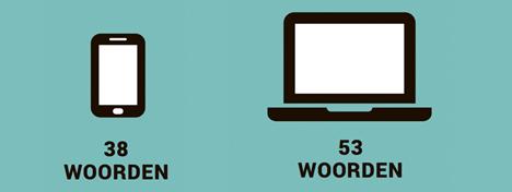 Woorden typen per minuut op smartphone vs. klavier